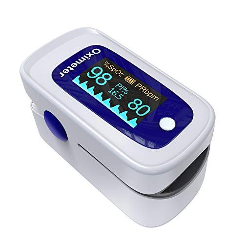 Pulsoximeter,Fingerpulsoximeter,Oximeter mit Alarm ideal zur schnellen Messung der Sauerstoffsättigung (SpO2)-Einfacher Pulsmesser für Kinder & Erwachsene-OLED Anzeige