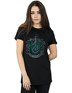 Harry Potter Mujer Slytherin Distressed Crest Camiseta del Novio Fit