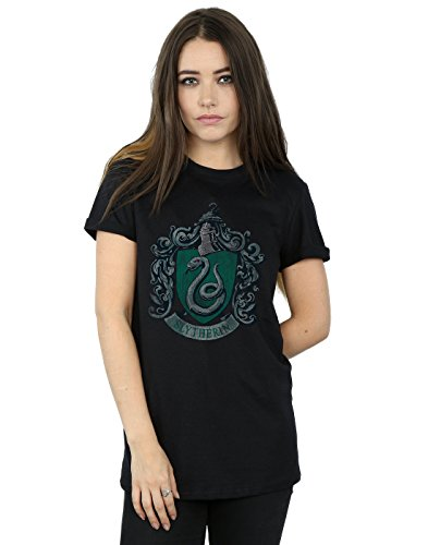 HARRY POTTER Damen Slytherin Distressed Crest Boyfriend Fit T-Shirt X-Large Schwarz