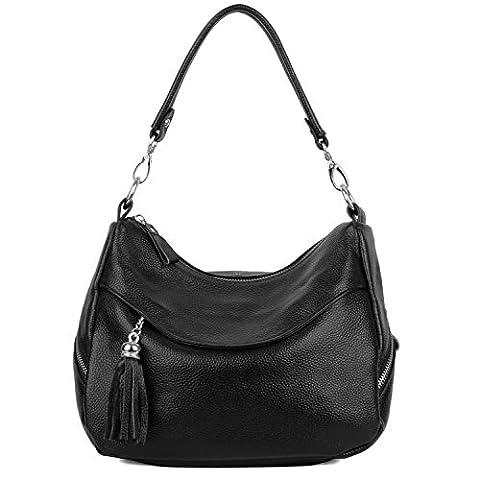 UPDATED VERSION-Yaluxe Women Ladies Elegant Genuine Leather Medium Size Tassel Hobo Handbag Shoulder