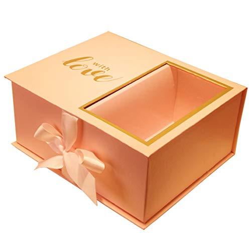 Doppelschicht-Rechteck-Geschenkbox-Rosa-transparentes Fenster-einfache Blumen-Schokoladen-Verpackung (größe : L(22.5×19×10.5cm)) - Armband Schokolade