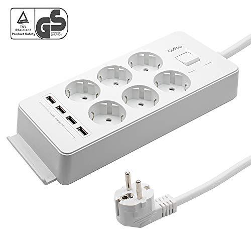Outtag Mehrfachsteckdose 6-Fach Steckdosenleiste Wandmontage Stromverteiler mit 4 USB Ports und Überspannungsschutz, Kindersicherung, Schalter, 1,5 m Kabel, GS zertifiziert (Weiß)