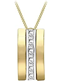 Carissima Gold 9ct 2-Tone Gold Cubic Zirconia Triple Bars Pendant on Curb Chain of Length 46cm