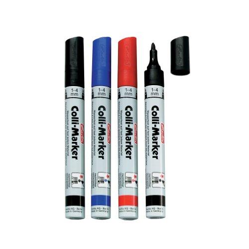 Herlitz 8665994 Permanentmarker, wasserfest, 1 bis 4 mm, farbig sortiert Colli Marker 5 Stück