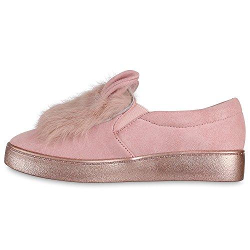 Damen Slip-ons Kroko Optik Sneakers Metallic Slipper Bequem Rosa Plüsch