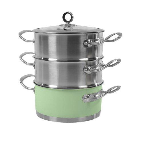 morphy richards pentola per cottura a vapore 3 scomparti 18 cm verde graugrn