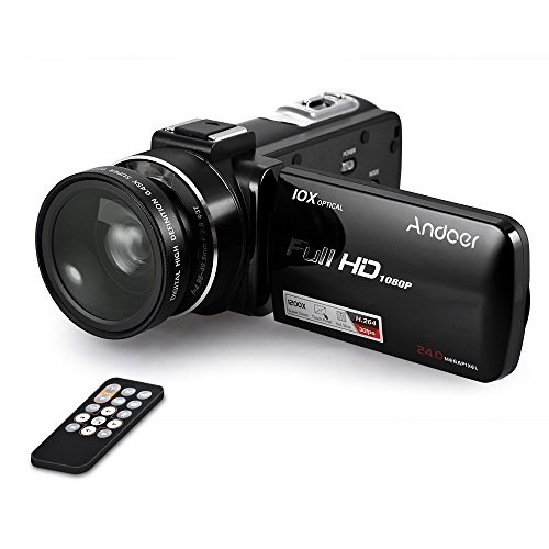 Andoer hdv-z82 1080p full hd 24mp videocamera digitale con angolo largo 0.45x + macro lens 3