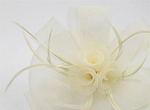 ZYCC Femmes Fascinator Feather Gauze Fleur Rhinestone Wedding Chapeaux Pinces à Cheveux Blanc Cassé