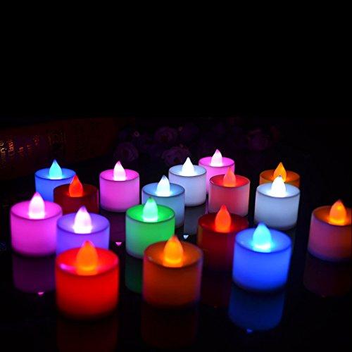 GOTTING Forma de la vela llevó la decoración sin llama de la luz de la vela de Fliker Rosado