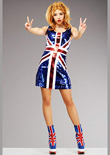 Spice Geri Kostüm - Frauen Ginger Spice Style Pailletten Union Jack Kleid Small (UK 8-10)