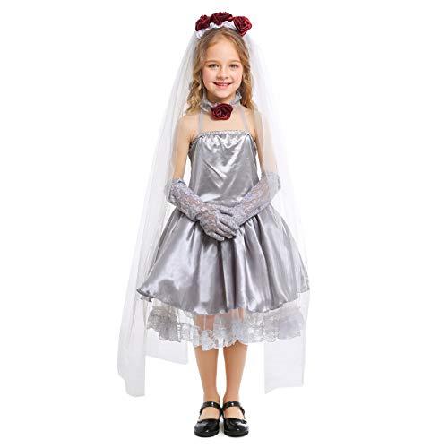 ut Kostüm Mädchen Gespenstische Braut Kostüm Friedhofsbraut Kostüm (146/152 (10-11 Jahre)) ()