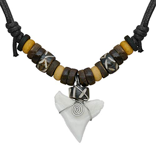 1 collar ajustable diente de tiburón diente Soul cats® con colgante Etno Etno Cuero Surfer Shark