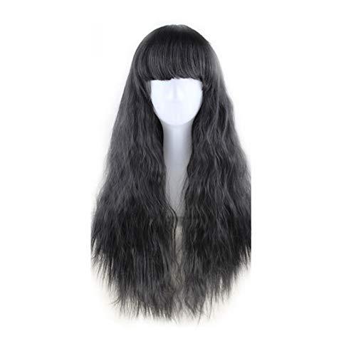 happyhouse009 Kunsthaar-Perücke, 65 cm, langes, lockiges Haar, für Kostümpartys, Anime, Cosplay Natural Black