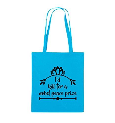 Comedy Bags - I'd kill for a nobel peace prize - Jutebeutel - lange Henkel - 38x42cm - Farbe: Schwarz / Pink Hellblau / Schwarz