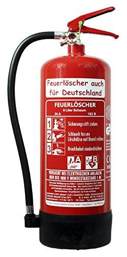 NEU 6 L Feuerlöscher auch für Deutschland Schaum AB BIO DIN EN 3 GS Haus Hof Wandhalter Manometer 34 A, 183 B, C = 10 LE