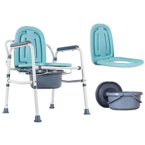 OLD MAN'S CHAIR ZLMI Ältere Toiletten-Portable Falten einfach zu bewegen Mobile Toilette Stool Pregnant Woman Stuhl Height Adjustable,A