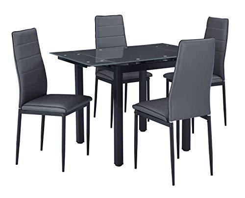 AVANTI TRENDSTORE - Malta - Set con 4 sedie e Tavolo allungabile, sedie rivestite in Similpelle Grigio Scuro, Dimensioni Lap: Tavolo 70-110x75x70 cm