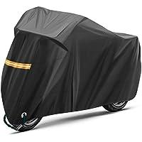TOPVORK Funda para Moto, Impermeable Funda Protector Cubierta para Motocicleta 210T, Cubierta de la Moto Impermeable al Polvo y con protección UV con Bolsa de Almacenaje, Negro