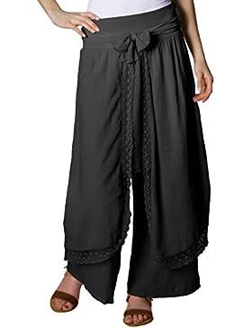 CASPAR KHS001 Pantalones Palazzo de Mujer/Pantalones de Harén Largos para Verano