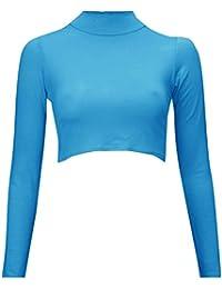 Baleza Women Ladies Long Sleeve Plain Scoop Neck Crop Top Sz 8-14