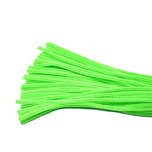 Monbedos Pfeifenreiniger Chenille Craft shilly-Stick DIY Creative Handgefertigt Kinderzimmer Kinder Spielzeug 100Stück, Leuchtend Grün, 30cm x 6mm