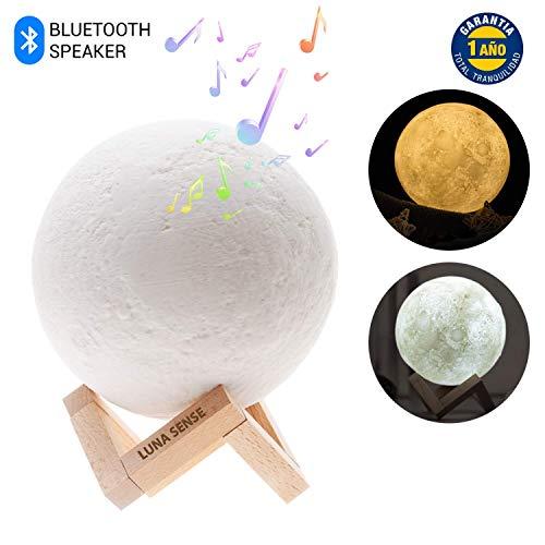 Lámpara de Luna 3D por Luna Sense, la única con ALTAVOZ BLUETOOTH, Luz Nocturna LED, Lampara Luna...