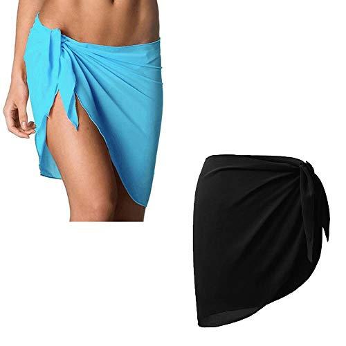Yuejiancaos 2 Packs Frauen Schürze Badeanzug Cover, Frauen Strand Wrap Schleier Rock Chiffon Bademode Wrap Bikini Sweater Cover (Black + Sky Blue) - Blue Sky Swimwear Wrap