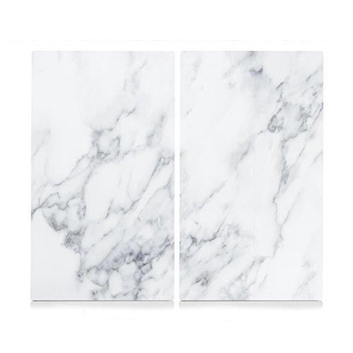Zeller Lot de 2 Planches à découper pour plaques de cuisson, Verre, Marmor weiß, 30 x 52 x 1 cm