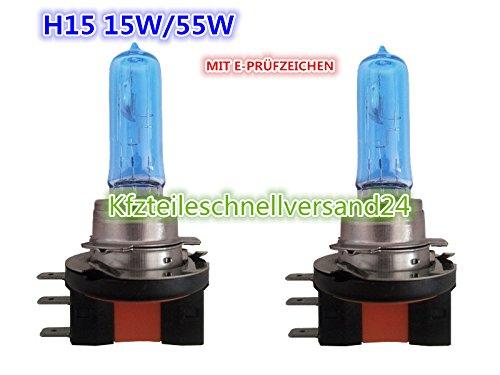 Preisvergleich Produktbild 2 Stück Birne Birnen H15 12V 15/55W Watt XENON ICE WHITE SUPERWHITE 7500 Kelvin XENON-LOOK Fernlicht DRL LAMPE GLÜHLAMPEN