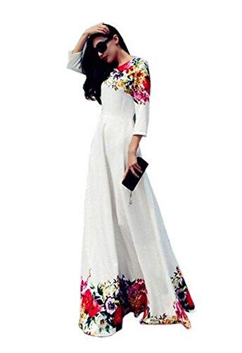 Sexy Damen lange Kleider Abendkleider Cocktailkleid Sommerkleid Partykleider Weiß