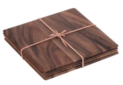 TOSKANA Tischmattenreihe: 4 viereckige Tischmatten aus Akazienholz mit Lederbinde