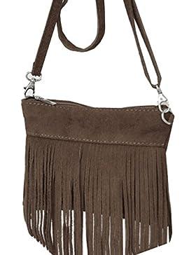 Minibag, Umhängetasche mit Fransen aus echtem Wildleder , Mod 2105 Italy