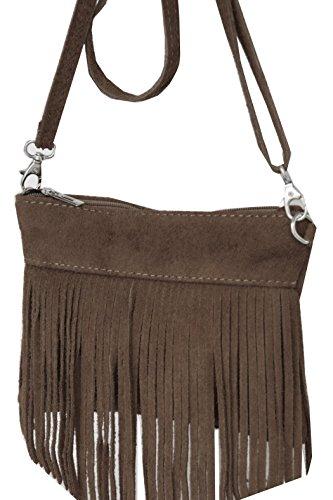 Minibag, Umhängetasche mit Fransen aus echtem Wildleder , Mod 2105 Italy Taupe