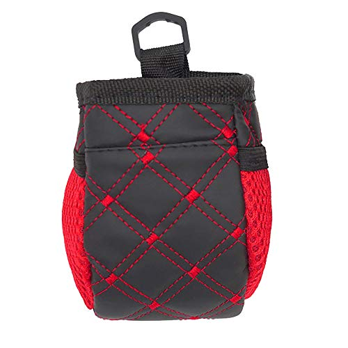 Mülltasche fürs Auto Multi-Purpose Organizer Auslaufsichere mit Deckel - mit Befestigungshaken Oben und Unten Vielseitige Aufbewahrungstasche Schwarz Rot 12 * 7 * 6.5cm