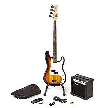 RockJam RJBG01-SK-SB Full Size Bass Guitar super Kit with Guitar Amplifier Guitar Tuner Guitar Stand Guitar Bag and accessories Sunburst
