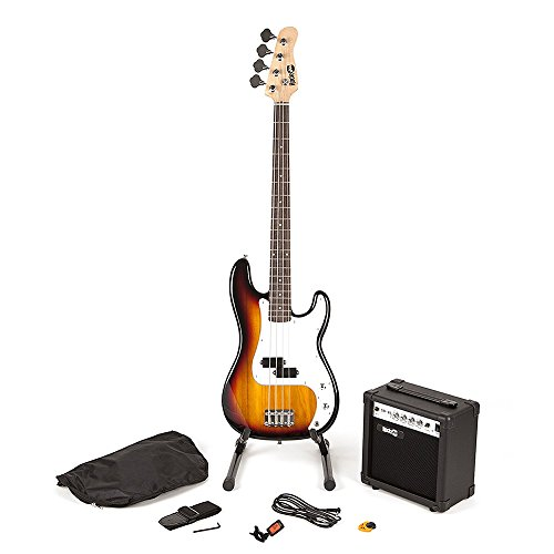 RockJam Full Size Bass Guitar Super Kit with Amp, Tuner, Stand, Travel Bag and Accessories - Sunburst