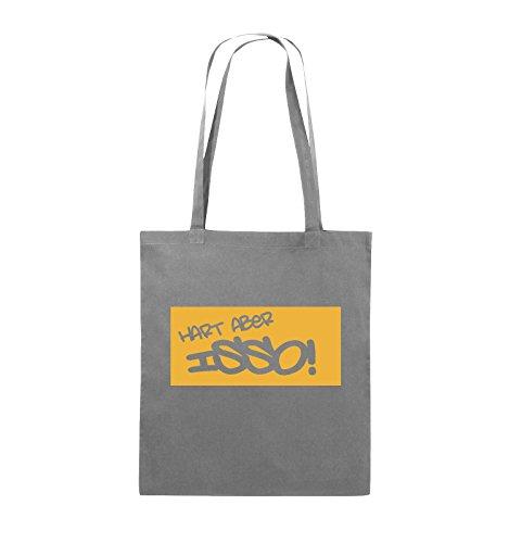 Comedy Bags - HART ABER ISSO! - Jutebeutel - lange Henkel - 38x42cm - Farbe: Schwarz / Pink Dunkelgrau / Gelb