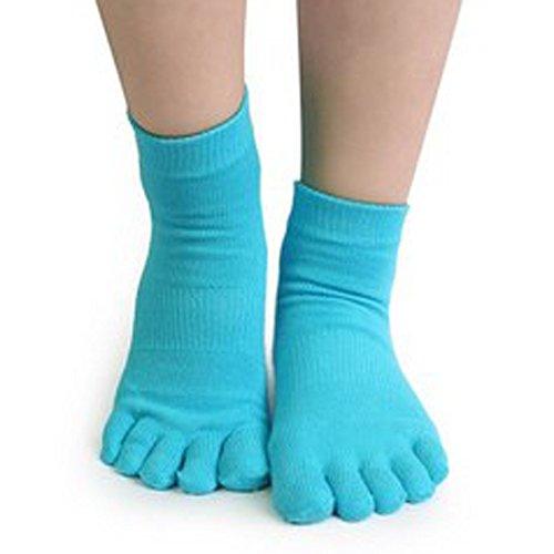Lmeno® 2 Coppie Donne Yoga Calze piedi pieni Antiscivolo cotone calzino esercizio di fitness yoga palestra antiscivolo Massaggi calzini massaggio dei piedi con completa Grip Blu