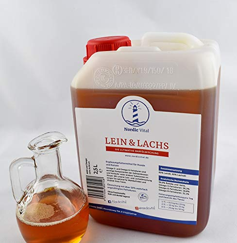 NordicVital Barföl Leinöl&Lachsöl Mischung, Omega-3,6 u.9 Öl, 2,5L Kanister,Für,Hunde,Barfen,Barföl,Katzen,
