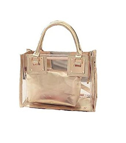 Honeymall Borse Donna,sacchetto di plastica in Pvc trasparente ed impermeabile Oro Oro