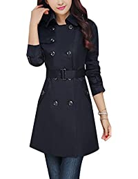 f4388713c0cb Ghope Manteau Femme Slim Fit Trench Vintage Jacket Coat Manches Longues  Veste Lâche