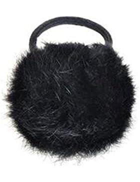 Goma para el pelo, piel de conejo sintética, estilo coreano, color negro negro negro