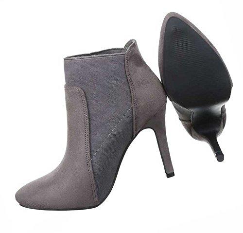 Damen Ankle Boots Schuhe High Heel Stiefeletten Schwarz Grau Rot 35 36 37 38 39 40 Grau
