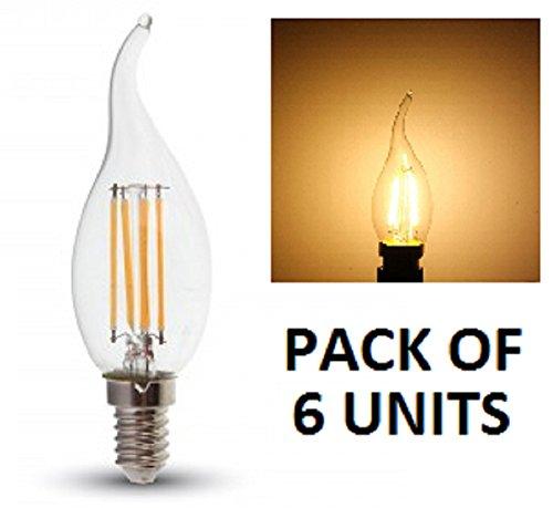 LED-Kerzenleuchte von V-TAC, Warmweiß,2700K, 230V,300 Grad Abstrahlwinkel, klassische Glühlampenoptik mit Glas-Finish, kleinesE14- / SES-Edisongewinde,4W, 400Lumen, 20.000Stunden durchschnittliche Brenndauer, nicht dimmbar, 6 Stück, SKU:4302.