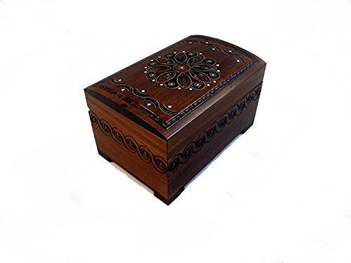 Art Deco Flower Motiv groß handgefertigt aus Holz Schmuck Brust Andenken Box mit Schloss und Schlüssel (Brust Holz-schmuck)