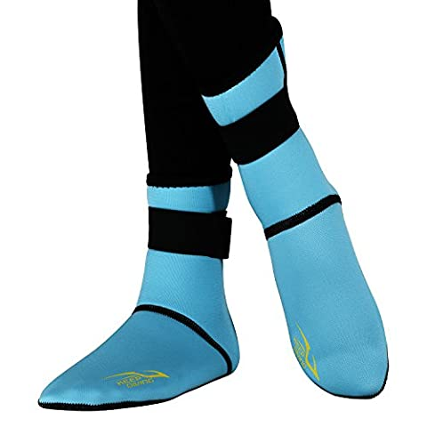 Children Snorkeling Socks 3mm Neoprene Ultra Thick Socks Unisex Boys Girls Kids Long Beach Water Diving Fin Traction Sock for Lake Swimming Pool Boating Sailing Boating (Blue, L)