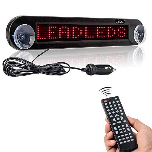 Leadleds Scroll-Anzeigebildschirm fürs Auto, LED-Anzeige, DC 12 V, bewegliche rote Nachricht, programmierbar mit Fernbedienung rot