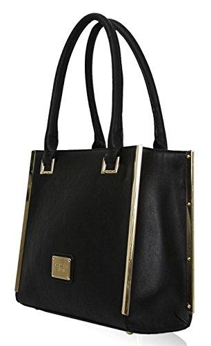 Logo In Metallo Kukubird Chic In Ecopelle Oro-tono & Passamanerie Tote Shoulder Bag Handbag Black