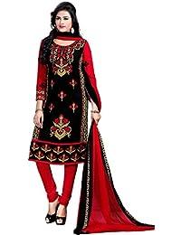 A K Designer Women's Chiffon Dress Material (Mehak9013_Free Size_Black)