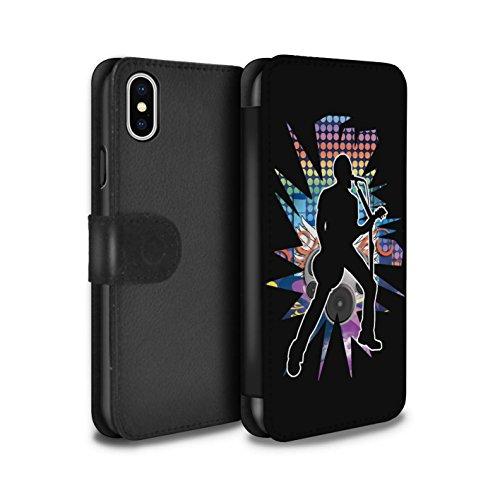 Stuff4 Coque/Etui/Housse Cuir PU Case/Cover pour Apple iPhone X/10 / Rock n Roll Noir Design / Rock Star Pose Collection Chanteur Noir